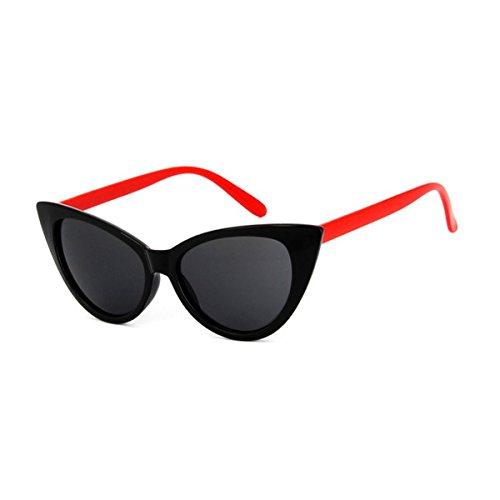 Polarizadas y Marco Para Mujer Catado brillante Gafas A04 Retro Grueso ECYC® roja De Estilo Sol pierna Gafas Sol De negra 1wTEYE