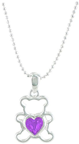 Teddy Bear Birthstone Pendant and Chain, - June Birthstone Bear