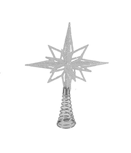 Acrylic 3D Moravian Star Christmas Tree Topper, Platinum Silver Glitter w/Metal Base, 9.5