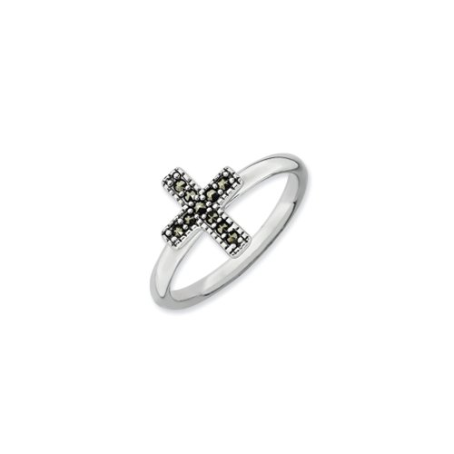 - 2.25mm Sterling Silver Stackable Marcasite Cross Ring Size 10