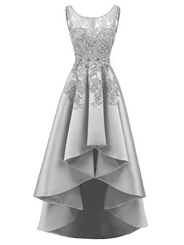 Asymmetrisch Silber Abendkleider Partykleider Cocktailkleider Vorne Satin Kurz Hinten Ballkleider Lang 1nqaxPnT