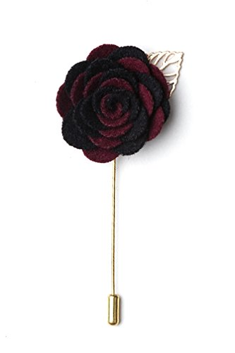 Handmade Velvet Flower Boutonniere for Suits/Weddings/Grooms - Comes in Nice Gift Box - Burgundy & Black