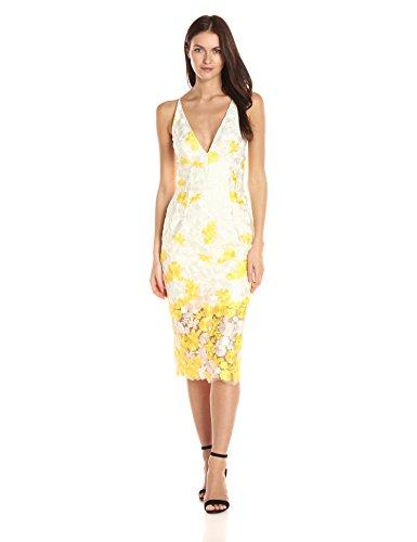 Dress the Population Women's Aurora Lace Plunging Spaghetti Strap Midi Sheath Dress, Jane Ivory/Canary/Blush, L