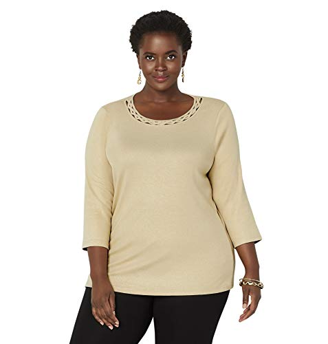 Kimono Gold Foil - Avenue Women's Neckline Cutout Foil Top, 18/20 Gold