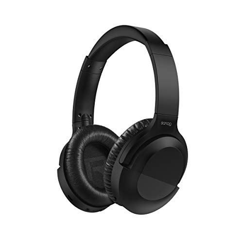 SANAG Noise Cancelling Headphones Wireless Bluetooth Over The Ear Headphones with Mic,Industry Leading Controllable Noise Cancellation, 30H Playtime for Travel Work TV PC Cellphone- Black (Best Over The Ear Wireless Noise Cancelling Headphones)