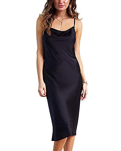 Moxeay Womens Cowl Neck Backless Spaghetti Strap Satin Cocktail Bodycon Midi Dress (XL, Black)