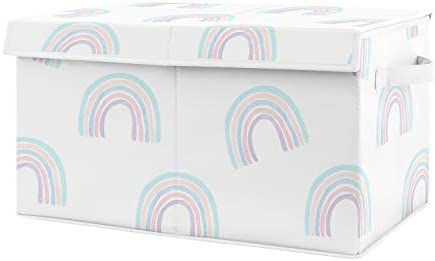 Amazon Com Sweet Jojo Designs Pastel Rainbow Girl Small Fabric Toy Bin Storage Box Chest For Baby Nursery Or Kids Room Blush Pink Purple Teal Blue And White Baby