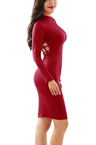 Out Hollow Sleeve Dress Long Prom Women's Bodycon Clubwear Party YMING Red Hollow vwFIEEq