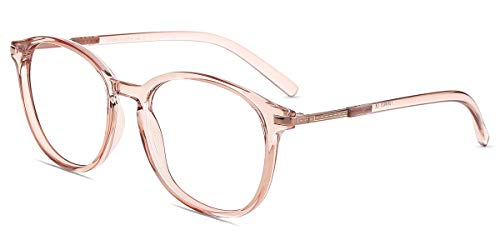 Firmoo Blue Light Blocking Computer Glasses with Large Round TR Full Frame for Women/Men (Pink Clear, Blue Light ()
