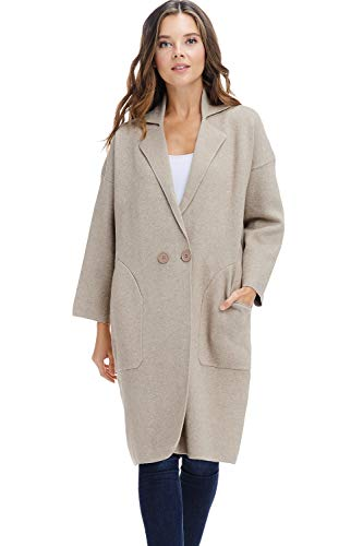 Alexander + David Womens Sweater Trench Coat Jacket - Button Knit Long Trench Overcoat (Beige, Medium/Large)