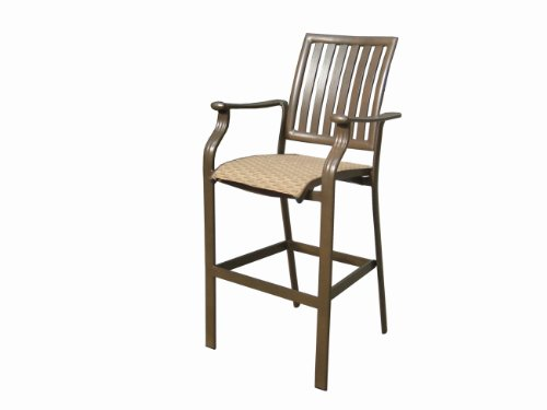 Upholstered Wicker Bar Stool - Panama Jack Island Breeze Stackable Barstool, 30-Inch, Espresso Finish