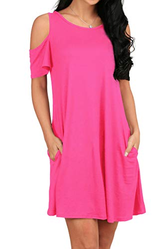 OFEEFAN Women's Cold Shoulder Tunic Top T-Shirt Swing Dress with Pockets -