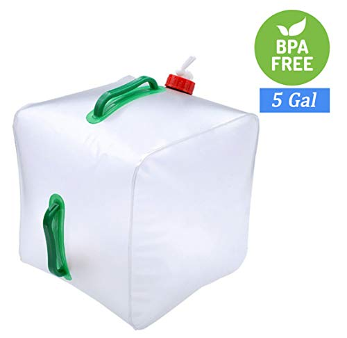 Cobrays Collapsible Water Container Bag 5 Gallon, BPA Free & Food Grade, Foldable Water Carrier Bucket for Camping Hiking (White)