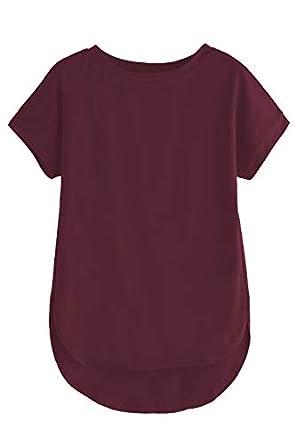 fasla Plain Cotton Regular fit Tshirt for Women(Maroon-S)