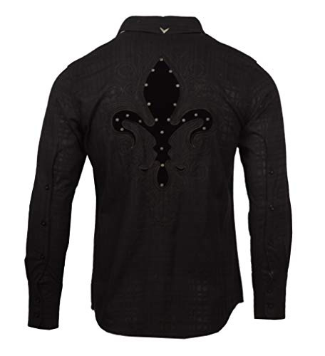 Fleur Button Front Shirt - Long Sleeve Custom Embroidered Fleur de Lis Shirt 128B (XL) Black
