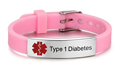 JF.JEWELRY Type 1 Diabetes Medical Alert ID Bracelet for Kids Adult with Silicone Wristband -8 Size ()