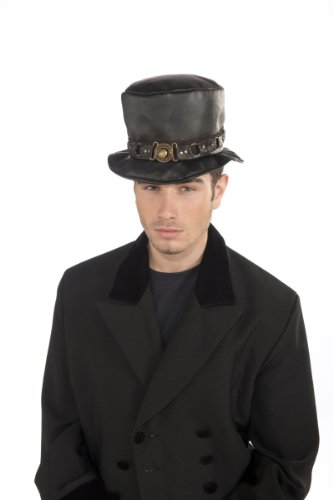 Rubie's Costume Steampunk Short Top Hat With Belt and Brass Buckle, Black, One Size