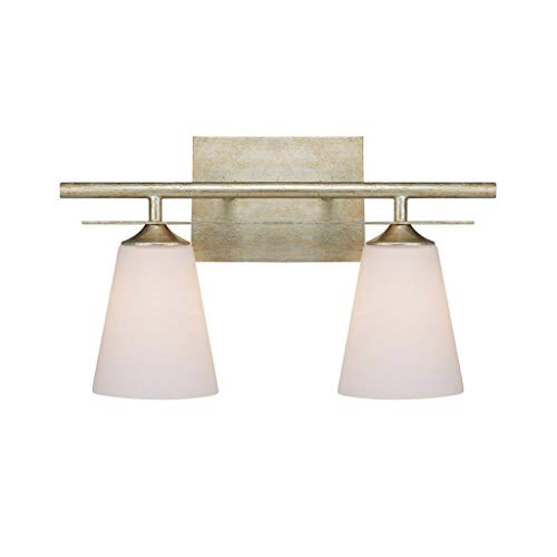 Capital Lighting 1737WG-122 Soho 2-Light Vanity Fixture, Winter Gold with Soft White Glass ()