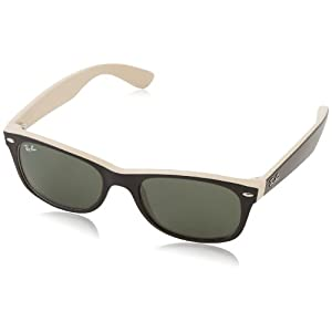 Ray-Ban Sunglasses New Wayfarer Color Mix Black,Light Brown, RB2132 - 875 52mm
