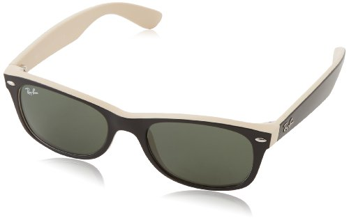 Ray-Ban RB2132 New Wayfarer Sunglasses, Black On Beige/Green, 52 mm