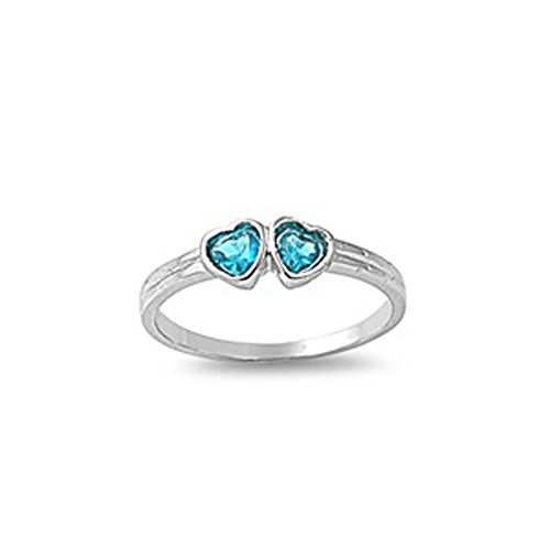 Blue Simulated Sapphire Cute Heart Love Baby Ring .925 Sterling Silver Band Size 2