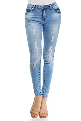 Monkey Ride Jeans Women's Skinny Denim Acid Wash Mid Rise Distressed Jeans 3, LT/Blue