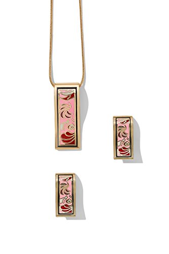 rectangle-pendant-necklace-with-stud-earrings-snake-chain-enamel-jewelry-set-bright-pink-red-white