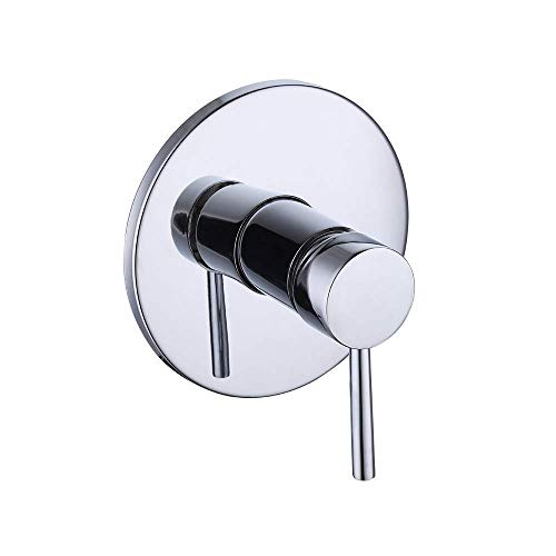 KES Brass Pressure Balance Valve Trim Round Shower Rough-in Valve Kit Shower Faucet Handle and Faceplate Chrome, LB6726-CH ()
