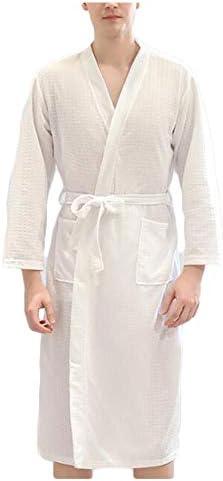 パジャマ CHJMJP パジャマメンズ春と夏の秋の衣装を着た女性の薄い浴衣吸水速乾性パジャマホームローブ (Color : 01, Size : XXXL)