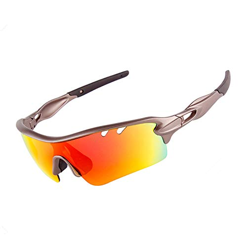 Men/Women Polarized Cycling Sunglasses Men/Women Polarized Cycling Sunglasses with 5 Changeable Lenes for Outdoor Riding Driving Fishing Boating Beach XQ-515 (Gun Ash)