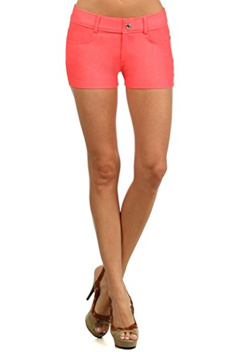 Yelete Women's Casual Summer Stretchy Jegging Shorts (Medium, Coral) Jegging Short