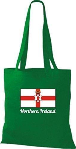 ShirtInStyle Bolso de tela Bolsa de algodón Yute de país Northern Irlanda Irlanda del norte - fucsia, 38 cm x 42 cm kelly