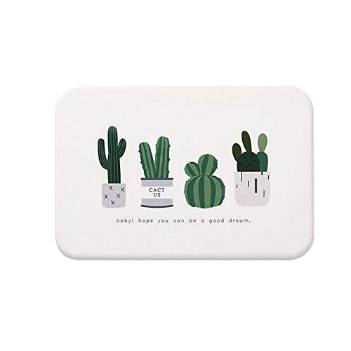 Lasenque Diatomite Cactus Cacti Coaster Absorbent Soap Bar Holder Fast Self-Dry,Anti-Bacterial Soap Saver and Toothbrush,Absorbent Diatomaceous Earth Mat (White,11.8x7.8)