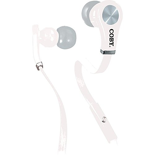 - Coby CV-E103WH Tangle Free Stereo Earbuds with Mic CVE103 White