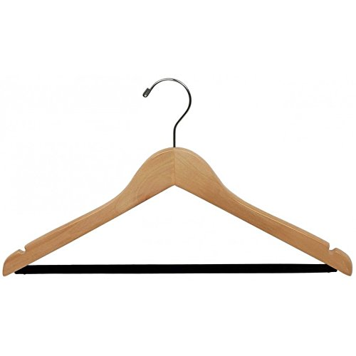 Extra Large Wooden Suit Hanger with Velvet Non-Slip Bar and Natural Finish, Box of 100 Oversized 20 Inch Hangers with Notches and Chrome Swivel Hook by The Great American Hanger Company by The Great American Hanger Company