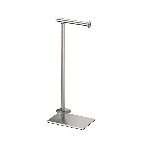 Gatco 1443SN Modern Square Base Toilet Paper Holder Stand with Storage, Satin Nickel, 21.13