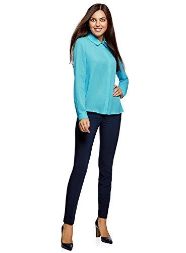 Fluide Femme 7300n Tissu oodji Ultra en Blouse Turquoise wvqCUHxz