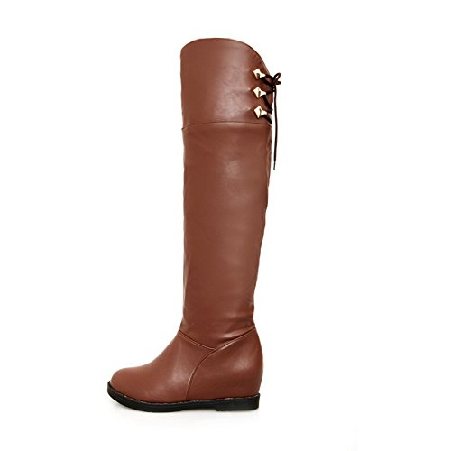 Kitten 7 Heighten PU Plush AmoonyFashion Toe Heels with Solid Closed Short Inside 5 US Womens Brown Round Boots B M qSZIfw