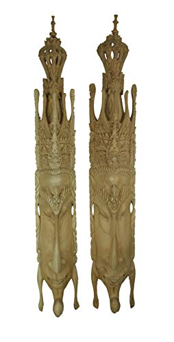 Things2Die4 Hand Carved Wood Rama and Sita Wall Mask Set