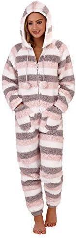 Loungeable - Pijama de una Pieza - Chaqueta Guateada - Rayas - para Mujer