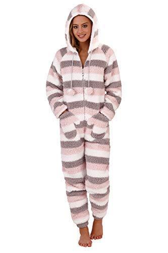 TALLA L. Loungeable - Pijama de una Pieza - Chaqueta Guateada - Rayas - para Mujer