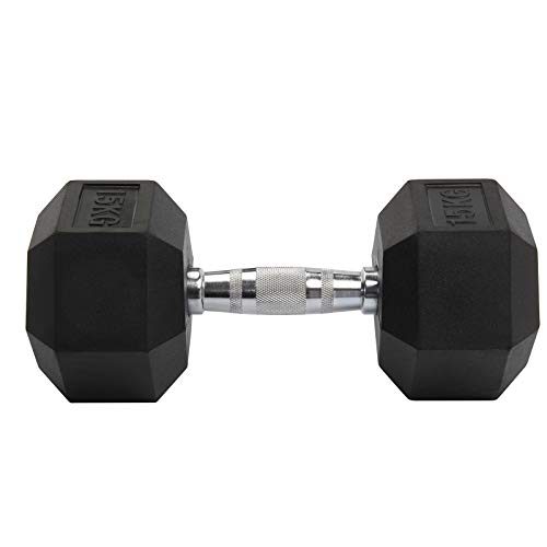 KingSaid 2Pcs 8KG/10KG/15KG Rubber Dumbbell Hex Weights Body...