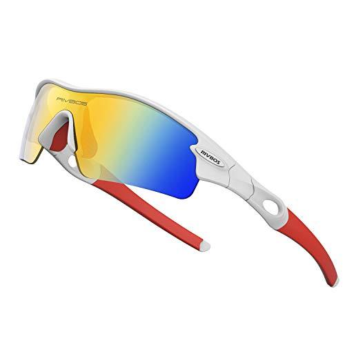 WOOLIKE Sports Sunglasses Driving Glasses Shades for Men Women TR90 Unbreakable Frame for Cycling Baseball 805 (White&Red&Revo Lens) (Driving Gläser)