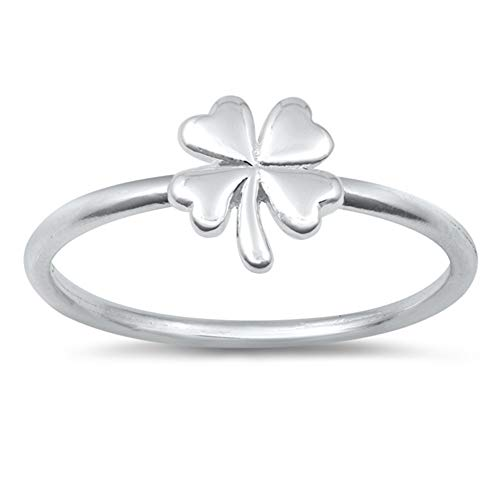 Good Luck Four Leaf Clover Nature Ring New .925 Sterling Silver Band Size ()