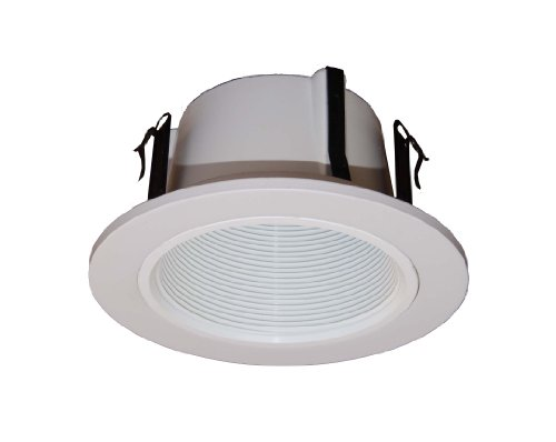 Phenolic Baffle Trim (4 Inches Line Voltage Phenolic Stepped Baffle Trim/trims for Recessed Light/lighting-white-Replaces Halo 993W)