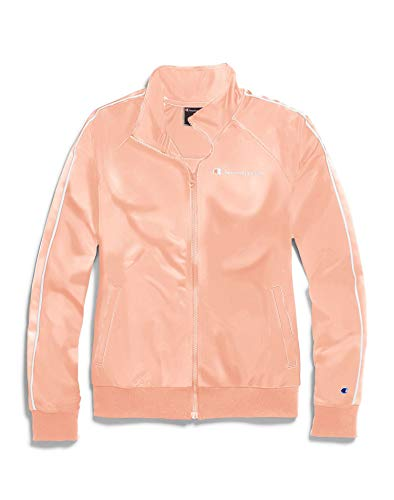 Champion Women's Track Jacket, Primer Pink/White, Medium