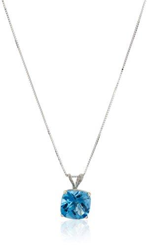 (14k White Gold Cushion Checkerboard Cut  Swiss Blue Topaz Pendant Necklace (8mm))