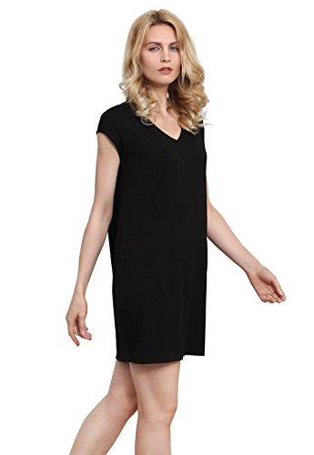 T Vislivin Cotton Black Pockets Neck Swing Shirt Dresses V Casual Dress Women's Simple Loose Plain HpwqI716pK