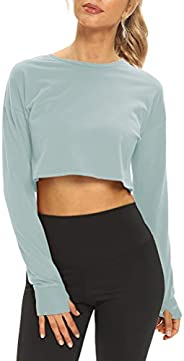 Mippo Long Sleeve Crop Top Workout Athletic Shirts Cropped Sweatshirts for Women