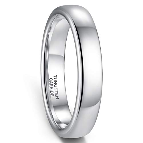 Zoesky Silver Tungsten Rings 2mm 4mm 6mm 8mm for Men Women Wedding Bands Domed High Polish Comfort Fit (Silver4mm, 5.5)